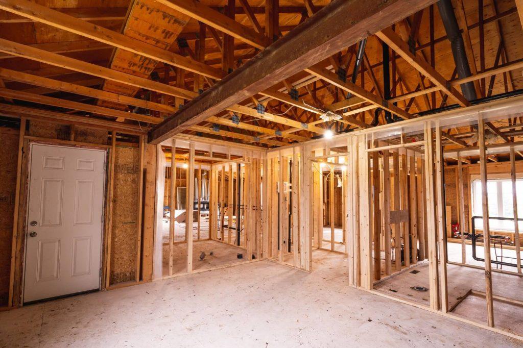 frame for custom home being built